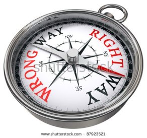 stock-photo-right-versus-wrong-way-indicated-by-concept-compass-on-white-background-metaphor-for-logic-versus-87923521